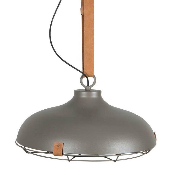 Zuiver Hanglamp Dek 51 grijs bruin metaal leer Ø51x22cm - wonenmetlef.nl
