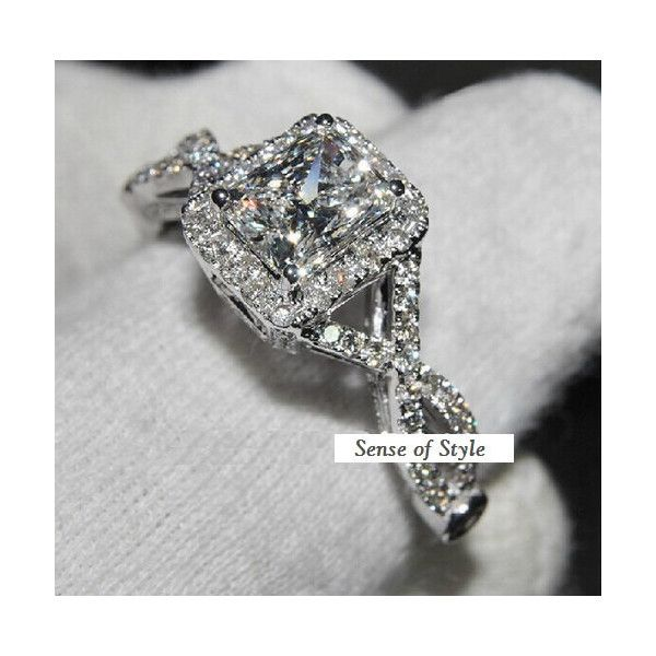 Emeral Cut Halo Wedding Ring Engagement Band Ring Diamond Simulated CZ... (48 BAM) via Polyvore featuring jewelry, rings, diamond wedding rings, cubic zirconia wedding rings, wedding band rings, fake diamond rings i cubic zirconia rings