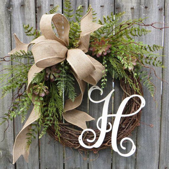 Door Wreath, Monogram Wreath, Burlap Wreath, Succulent Wreath for All Year…