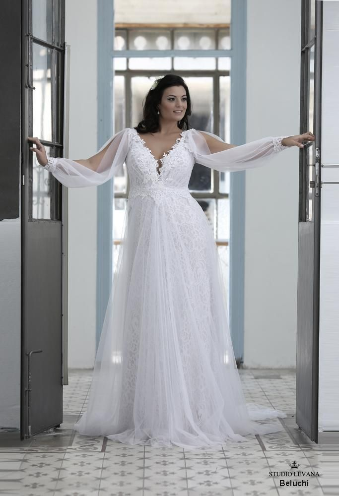 Split Long Sleeve Open Back Boho-Hippie Style Plus Size Wedding Gown ...