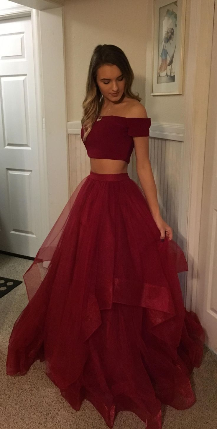 Two Piece Off-the-Shoulder Short Sleeves Black Prom Dress
