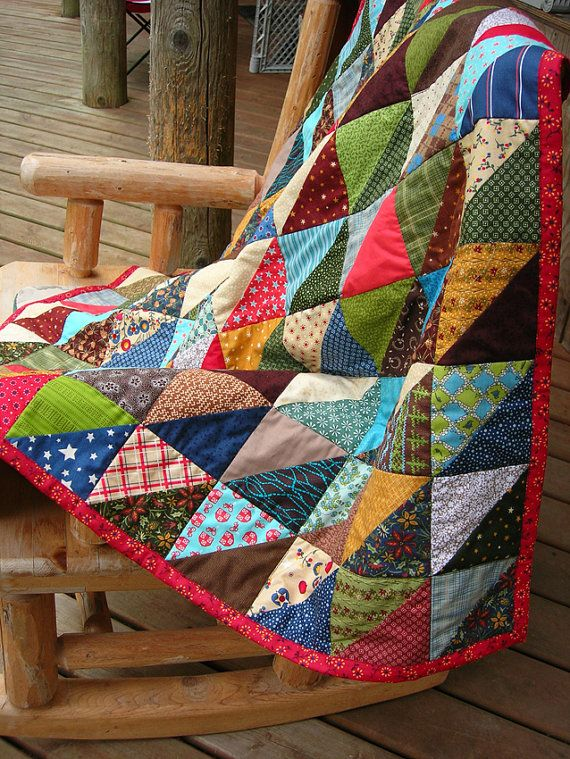 American Folk Quilt throw size by BubbleStitch on Etsy, $125.00