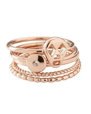 LOVE these!!! Would make perfect gifts for my sisters. Kirstin Ash Fines Ring Stack in Rose Gold and Sterling Silver mix,rom $59 to $79 each ring, www.kirstinash.com
