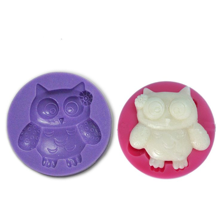 Owl with Rose Silicone Mold