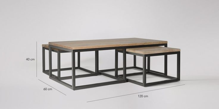 SWOON EDITIONS Sullivan Wooden Industrial Coffee Table Set | Swoon Editions