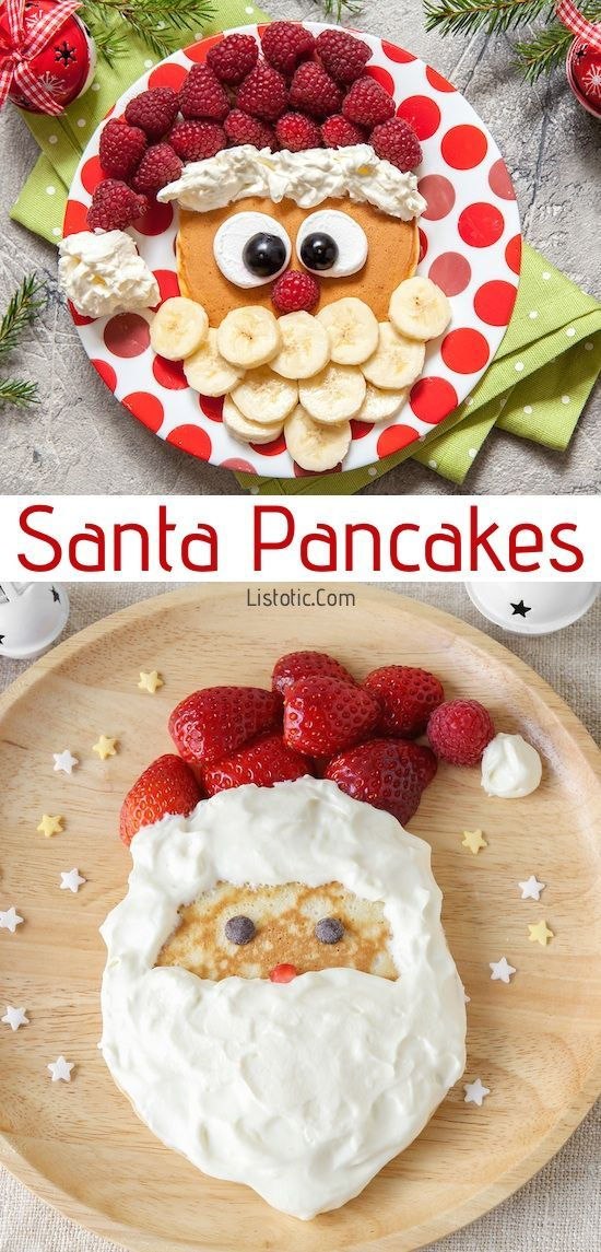 Easy Santa Pancakes For Kids | Over 15 fun, cute and easy Christmas breakfast ideas for kids! These creative recipes are so simple and easy to make, but are sure to make Christmas morning extra special. Everything from pancakes to toast and oatmeal! Listotic.com