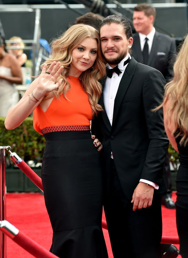 Game of Thrones stars Natalie Dormer and Kit Harington hit the red carpet at the 2014 Emmy Awards in LA on Tuesday.