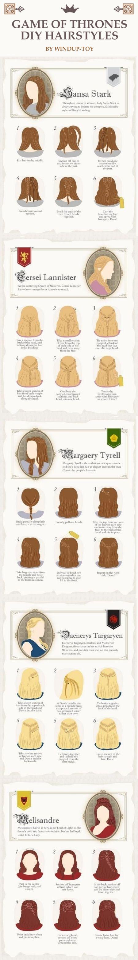 Game of Thrones DIY Hairstyles by Windup-Toy! @alejjisbu1978 mira que bello  para ti que eres una gran fan!