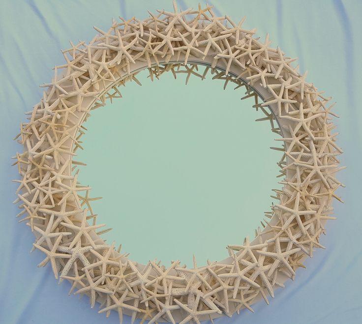 "Beach decor starfish mirror, nautical decor star fish mirror, coastal decor custom white starfish round mirror, 33"" .  $1500.  https://www.beachgrasscottage.com/"