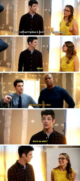 """#Supergirl #1x18 #SuperFlash crossover """"I still can't believe it, and I'm form another planet"""" """"What?"""" """"Oh yeah, she's an alien."""" """"You're an alien?"""""""
