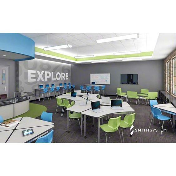 Practical, breakaway Crescent tables from Smith System. #explore #21stcenturyclassroom: