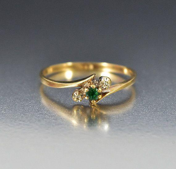 Diamant-Smaragd Verlobungsring, zierliche Promise Ring Stapeln Ring Gold Antik…