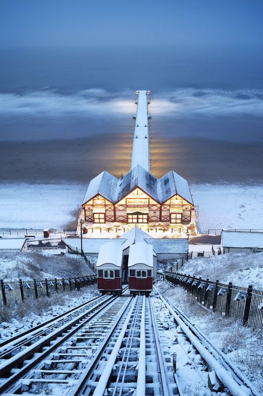 Saltburn Cliff Lift in the Snow, Saltburn-by-the-Sea, North Yorkshire, England #Beautiful #Places #Photography