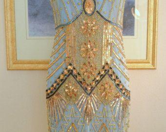 IN voorraad! stijl van de jaren 1920 Turquoise gouden kralen Starlight jurk-MEDIUM