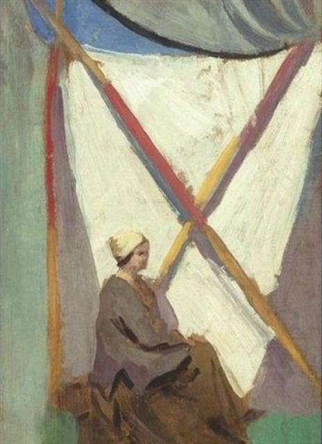 Augustus Edwin John - Dorelia before a banner