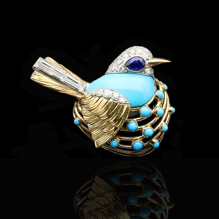 A DELIGHTFUL GOLD, TURQUOISE AND DIAMOND BIRD BROOCH BY CARTIER, c.1960 The…