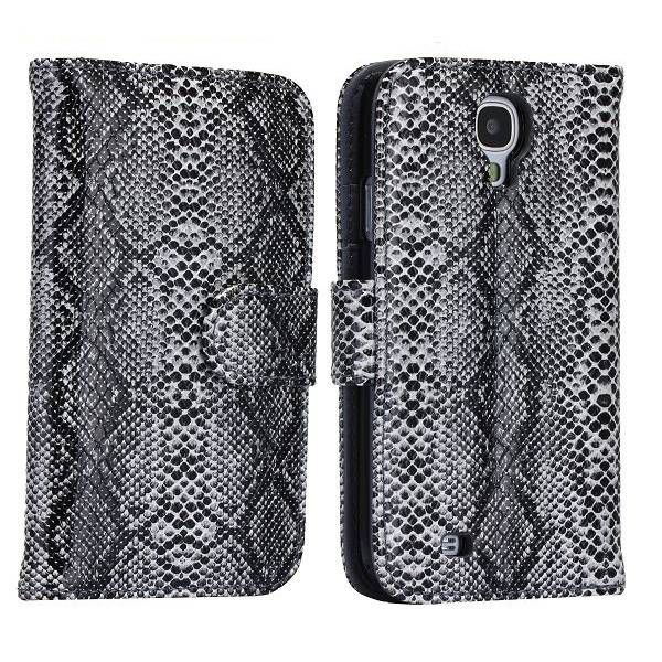Slangenleer zwarte bookcase Samsung Galaxy S4