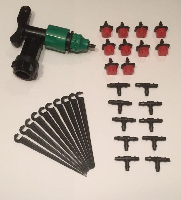 Startsett. Komplett vanningsanlegg med 10 justerbare dryppvanningspunkter og kran som kan monteres på din egen vanntønne eller vannbeholder. Kan enkelt bygges ut med flere vanningspunkter!