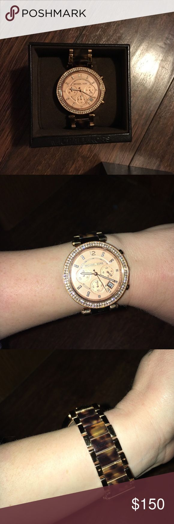 Michael Kors Rose Gold/Tortoise Watch Rose gold face surrounded by pave diamonds. Tortoise Shell band. Includes the links I had removed. Needs a new battery. There's a small bit of discoloration on the clasp, but it isn't visible when it's worn. Michael Kors Accessories Watches