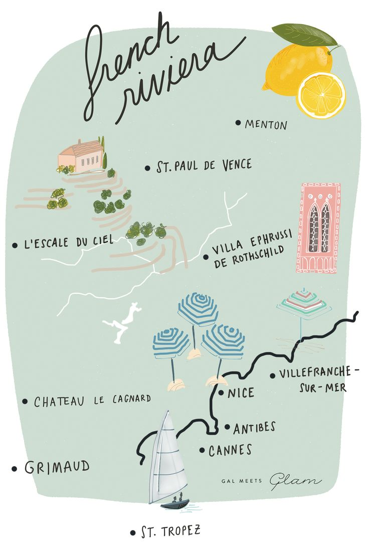 Gal Meets Glam French Riviera Map http://galmeetsglam.com/2017/08/provence-french-riviera-itinerary/