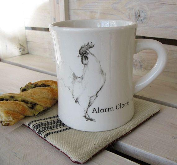 Farmhouse Coffee Mug with Grain Sack Mug Rug- Rooster Alarm Clock Coffee Cup and Grainsack Coaster by FarmhouseHomeDecor on Etsy