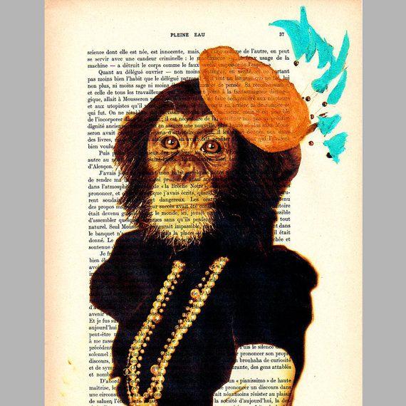 Miss Monkey - ORIGINAL ARTWORK Mixed Media, Hand Painted on 1920 famous Parisien Magazine 'La Petit Illustration' by Coco De Paris