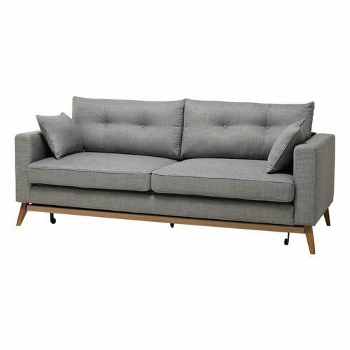 Ausziehbares Sofa 3-sitzig aus Stoff, hellgrau