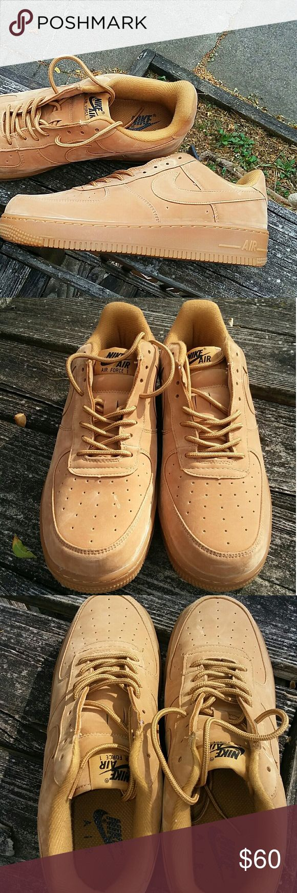 Nike Air Force 1 Wheat Flax Rare as 7.5 Here is a deadstock brand new pair of Nike Air force one Wheat flax in a size 7.5. These shoes are brand new deadstock never worn or tried on and are sold out in stores. Only flaw is the og box has been misplaced but still a great price considering you'll be paying $100+ same condition if you can find em. Get em now for the low.  US 7.5 UK 6.5  Jordan  Nike Adidas Foamposite Iphone Samsung Galaxy True Religion Rock and Revival Ewing Bape BBC Ice Cream…
