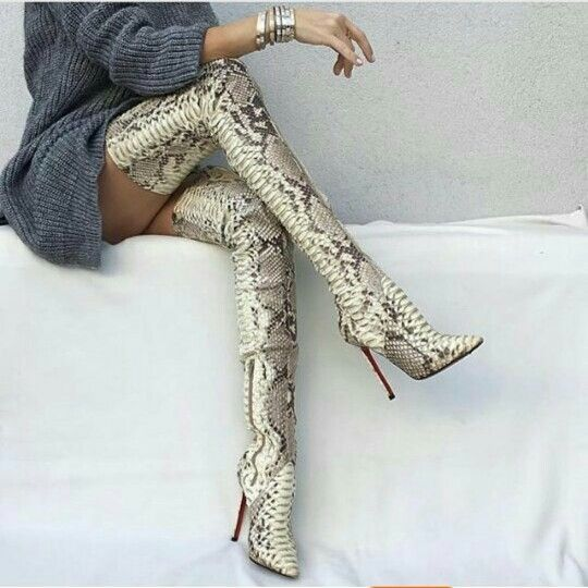 Long snake over the knee boots