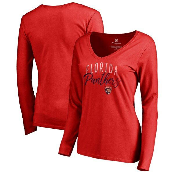 Florida Panthers Fanatics Branded Women S Graceful Long Sleeve V Neck T Shirt Red Floridapanthers In 2020 Long Sleeve Tshirt Men Long Sleeve Shirts