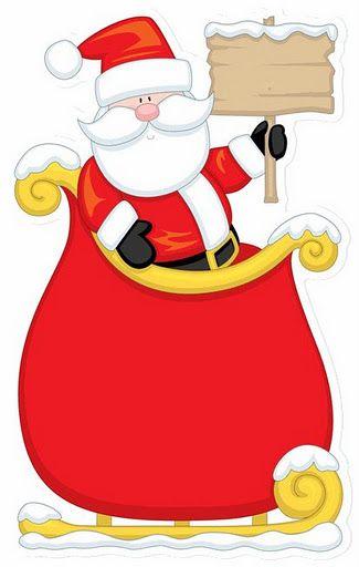 CHRISTMAS SANTA AND SLEIGH CLIP ART