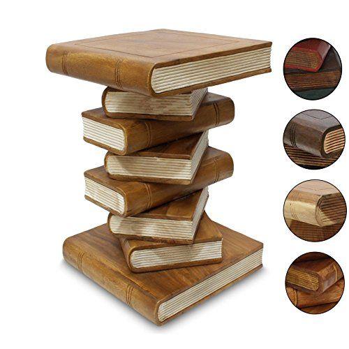 Bücherhocker Hocker Holzhocker Beistelltisch Nachttisch Buch Stapel 50cm Holz Akazie Hellbraun Creme