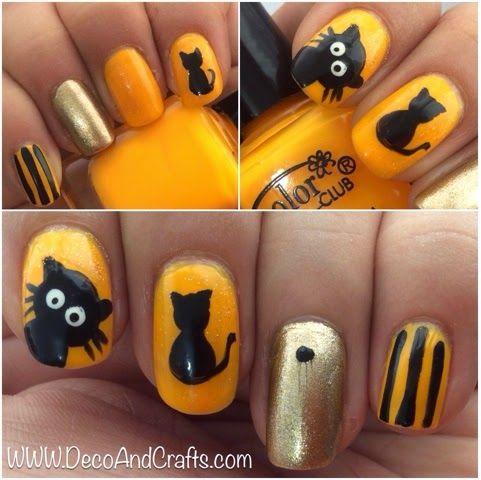 Uñas decoradas con gatitos para Halloween
