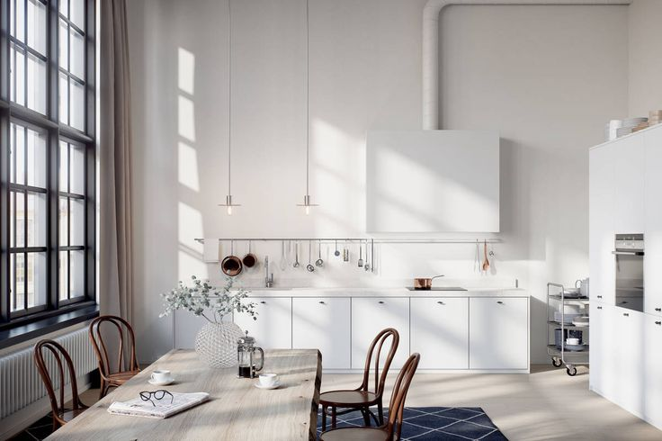alexander white industrial white kitchen with thonet chairs