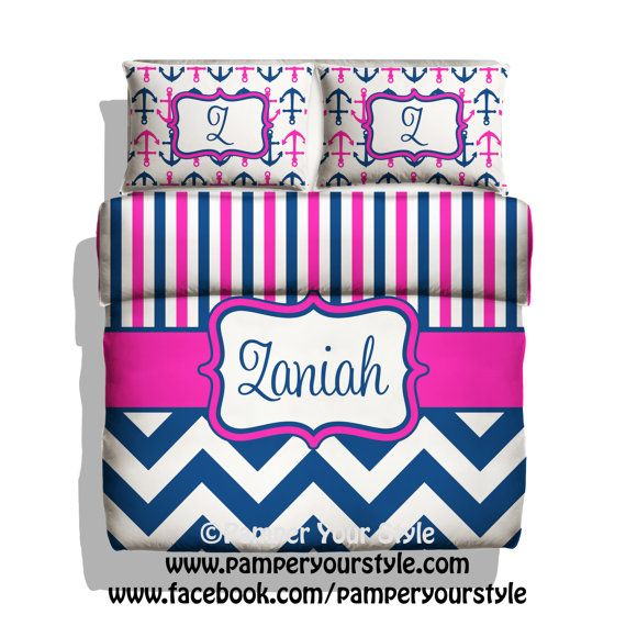 Monogrammed Striped and Chevron Nautical Anchor Bedding - Hot Pink and Navy Bedding - Personalize with Name or Monogram - Create your Bed on Etsy, $139.00
