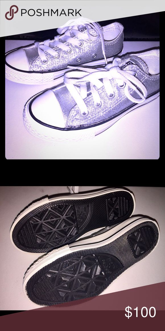 Converse New kids silver glitter converse. Converse Shoes Sneakers