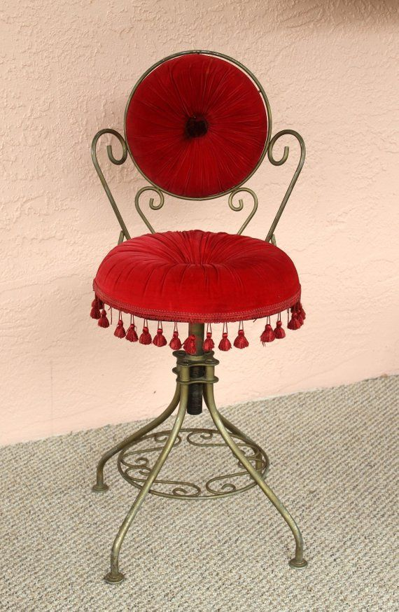 Groovy Delta Metal Vanity Chair Red Velvet Stool Powder Chair Short Links Chair Design For Home Short Linksinfo