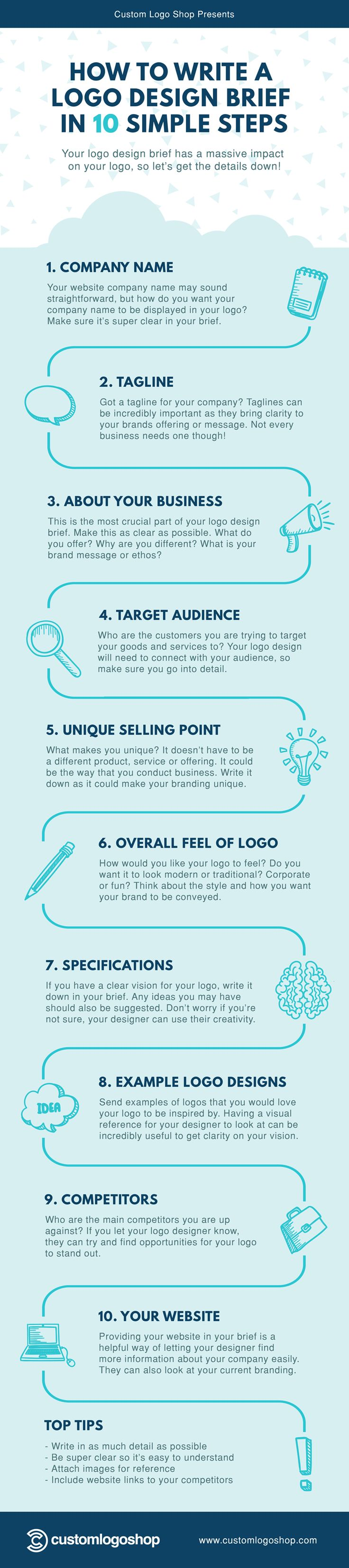 How to Write a Logo Design Brief in 10 Simple Steps #Infographic #Design #Logo