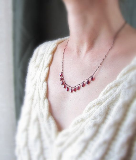 January birthstone  delicate garnet necklace  by PixiesForest