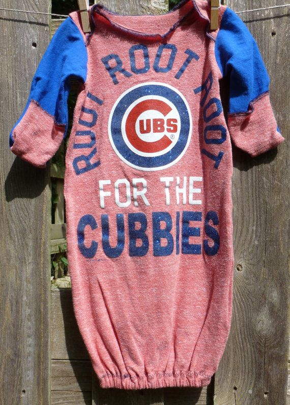 Chicago Cubs MLB Infant upcycled t-shirt Gown/sleepsack Newborn - 3 months on Etsy, $10.00