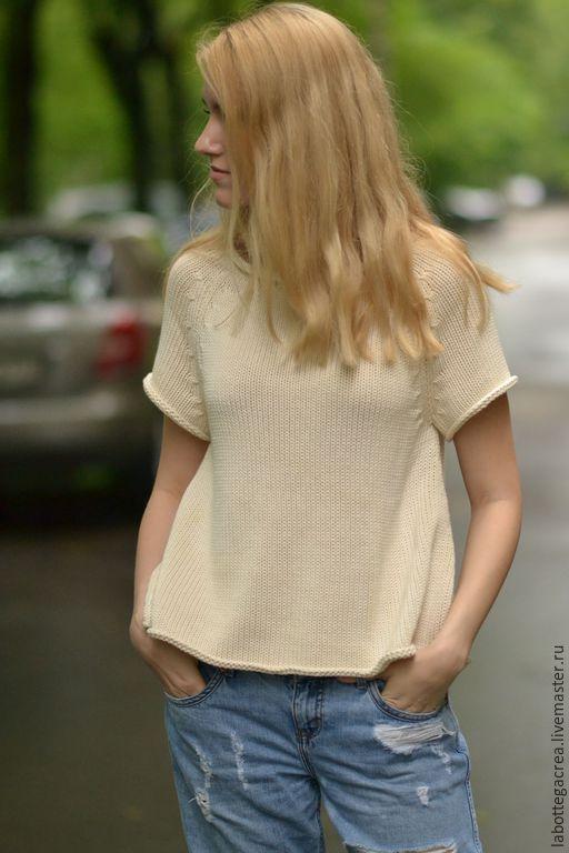 Купить Cвитер хлопковый Semplice - молочный, свитер вязаный, вязаный свитер, вязаный топ