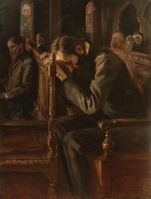 Nicolae Vermont (Romanian, 1866-1932),Slavic Soul (Crime and Punishment). Oil on canvas, 120 x 90cm.
