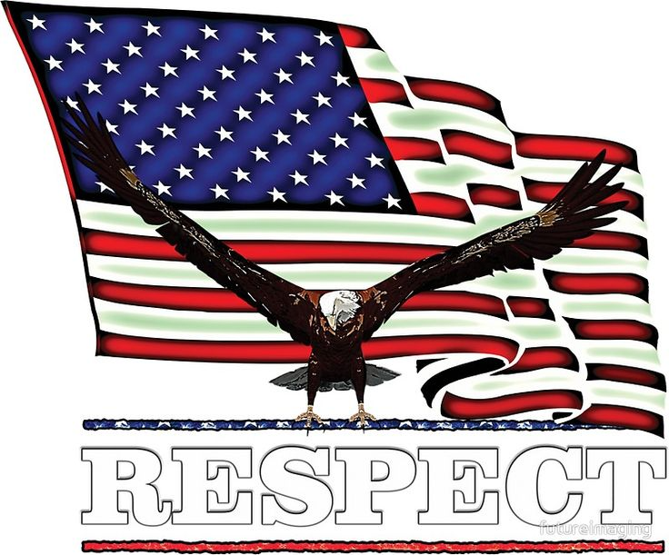 Usa flag respect in white text sticker by futureimaging