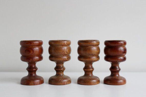 Vintage Wooden Egg Cups Set of 4, Swedish Egg Cups, Wooden Egg Holder, Egg Container, Easter, Rustic Kitchen, Scandinavian Design, Handmade by LittleRetronome