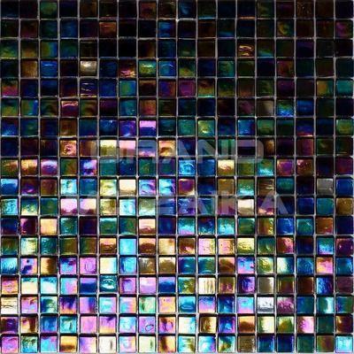 Стеклянная мозаика с добавлением иридия, серия Flicker, цвет: синий