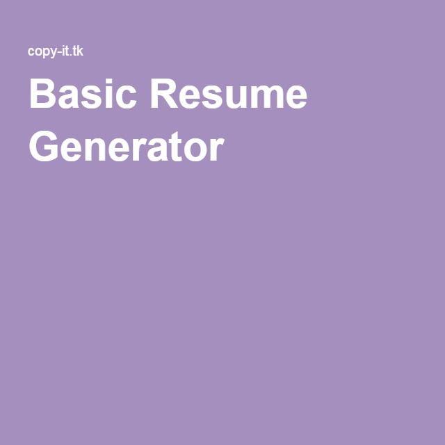 Basic Resume Generator
