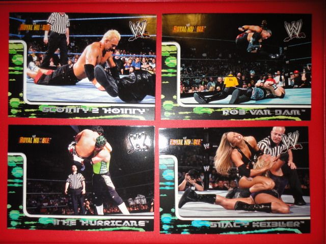 ** 4 OLD 2002 Fleer WWE/WWF Royal Rumble Cards / RVD - Stacy Keibler - The Hurricane **