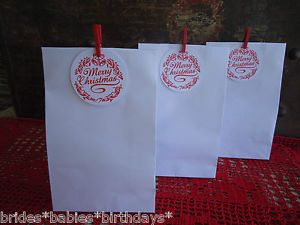10-White-Kraft-Lolly-Bags-Christmas-Party-Bags-Lolly-Buffet-Loot-Bags-Tags-Pegs