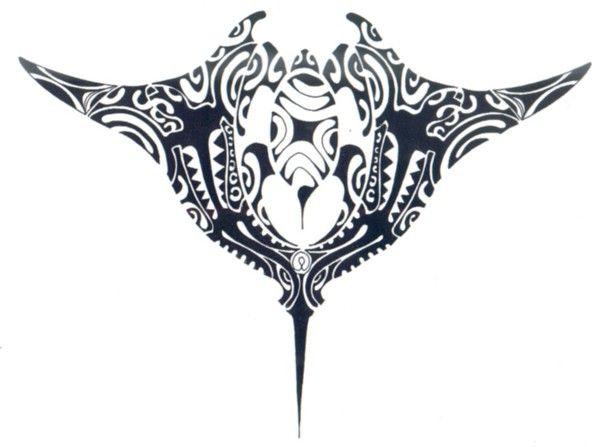 Modèle tatouage polynésien de raie manta