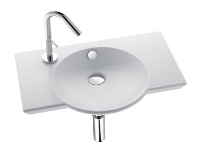 Spherik 600mm Basin with Centre Bowl  Features:    Basin design allows left hand or right hand tap hole  Overflow outlet